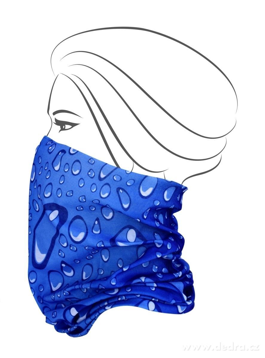 Multifunkčná šatka - modrá s bublinkami