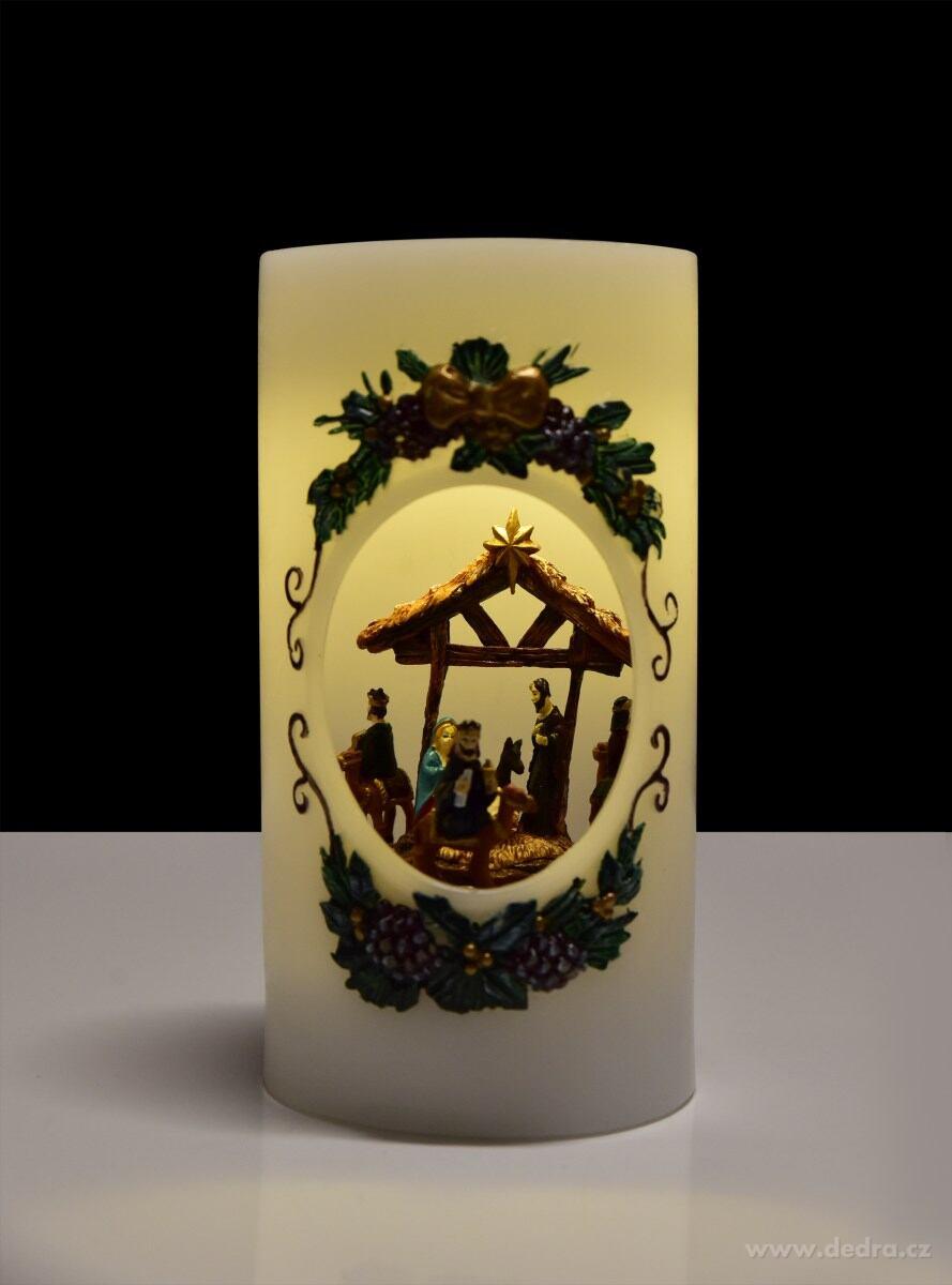 XXL svietiaci LED betlehém vo vnútri sviečky
