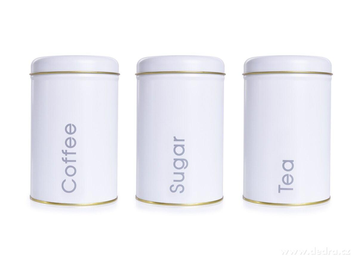 3 ks SADA kovových okrúhlych dóz - Tea, Sugar, Coffee
