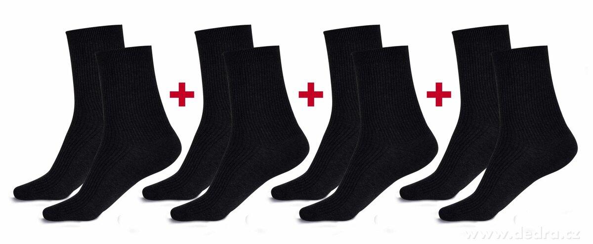 Sada 4 párov komfortných zdravotných ponožiek