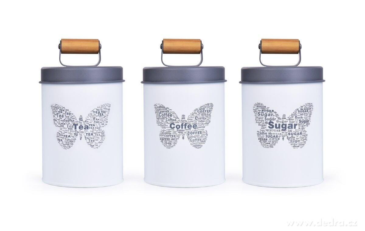 3 ks SADA kovových guľatých dóz MOTÝĽ - Tea, Sugar, Coffee