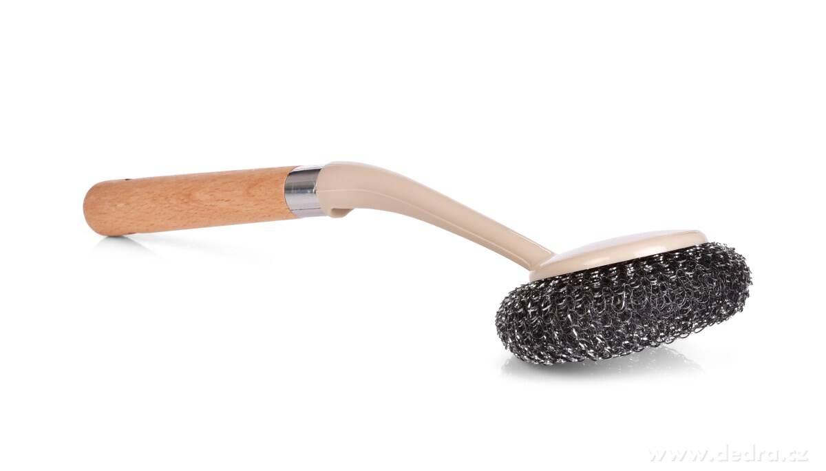 Kovová drôtenka na riad s praktickou rukoväťou NATURAL LOOK