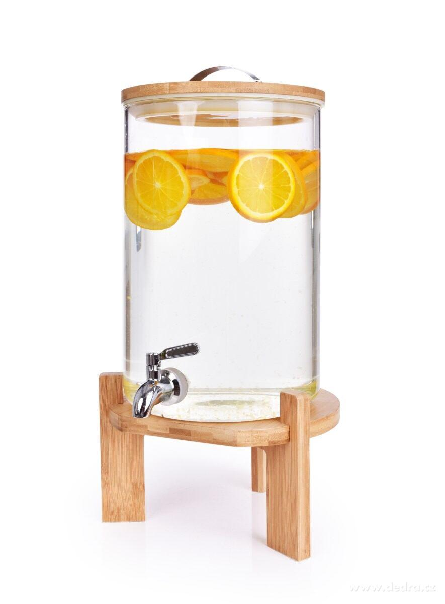 Čapochladník BAMBOO - dávkovač nápojov z hrubostenného skla