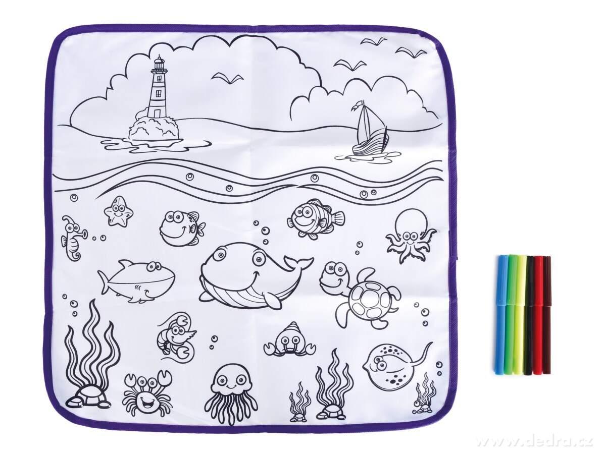 Umývateľná kresliaca podložka + 6 farebných fixiek
