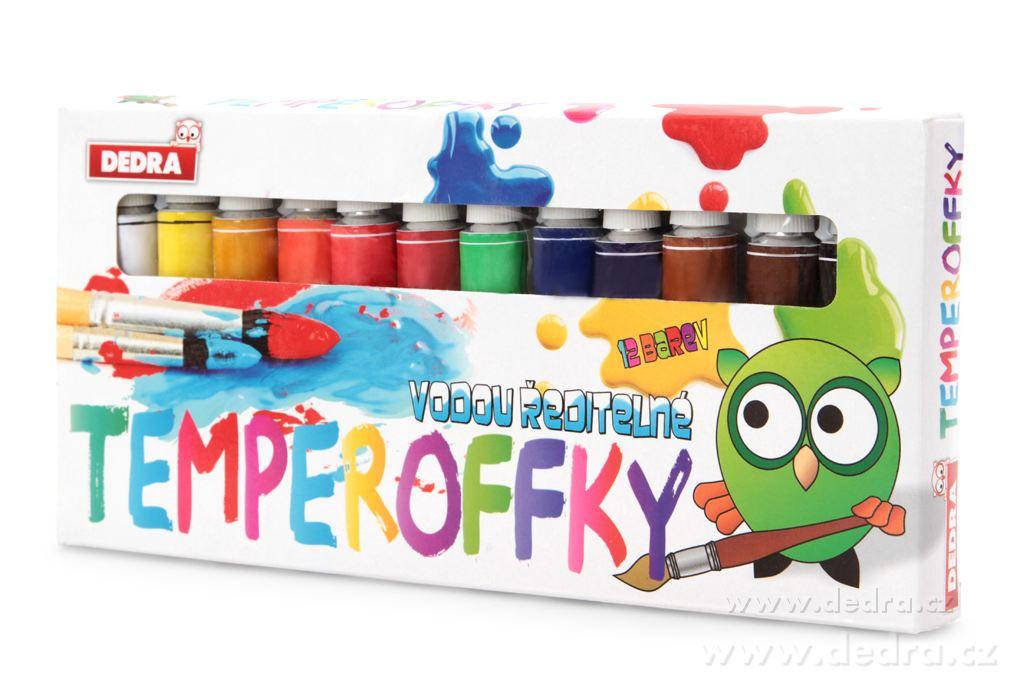 12 ks TEMPEROFFKY vodou riediace farby